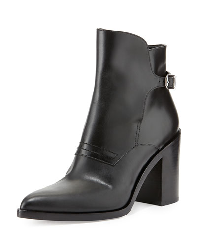 Alexander Wang Clarice Leather Pointed-Toe Bootie, Black