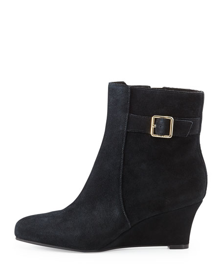 Aimee Suede Wedge Ankle Boot, Black