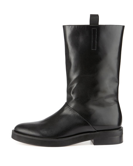 Liberty Leather Flat Boot, Black