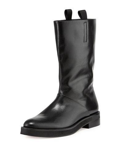Alexander Wang Liberty Leather Flat Boot, Black