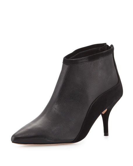 Loeffler Randall Reese Suede Combo Pointy-Toe Bootie, Black
