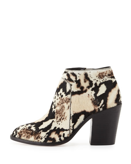 Ella Python-Print Calf Hair Ankle Bootie, Cream/Black