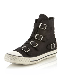 Ash Virgin Buckled Sneaker, Black