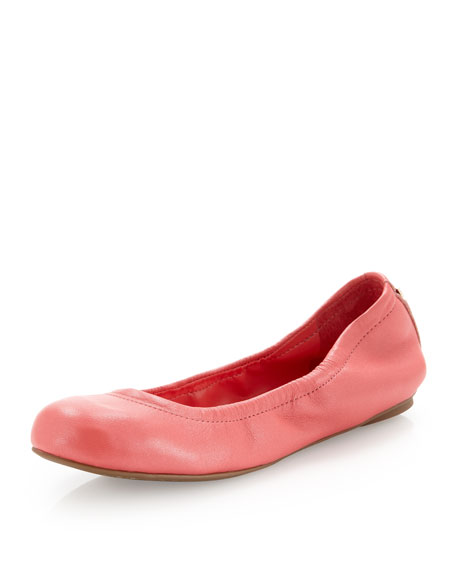 Molly1 Matte Leather Ballet Flat, Coral