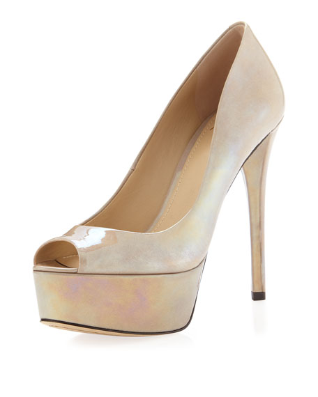Bambola Patent Leather Platform Pump, Gray
