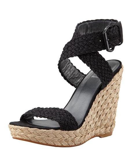 Stuart Weitzman Alex Crochet Wedge Sandal, Nero
