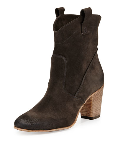 Alberto Fermani Chiara Slouchy Suede Ankle Boot, Anthracite