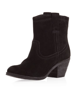 Ash Nina Suede Ankle Boots, Black