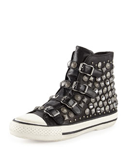 Ash Victim Leather Studded High-Top Sneaker, Black