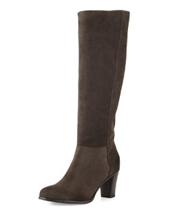 Alberto Fermani Loreo Suede Knee Boot, Anthracite