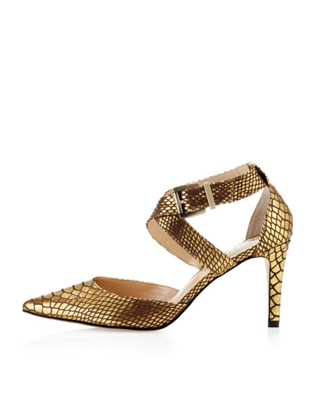 Aziza Snake-Print Pointy Pump, Dark Gold