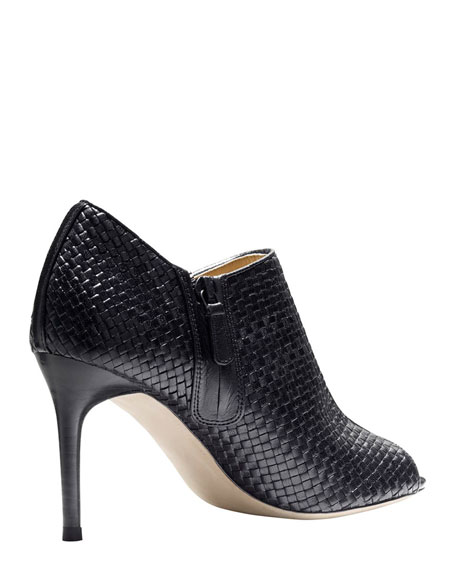 Annabel Woven Leather Bootie, Black