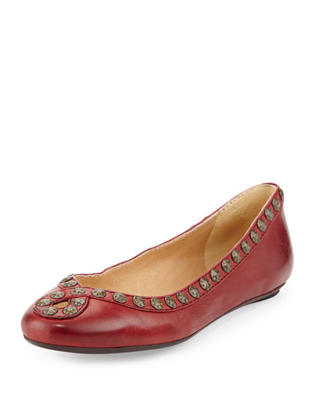 Frye Emma Hammered Stud Leather Flat, Burnt Red