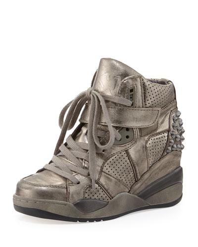 Ash Freak Piombo Leather Wedge Sneaker, Piombo