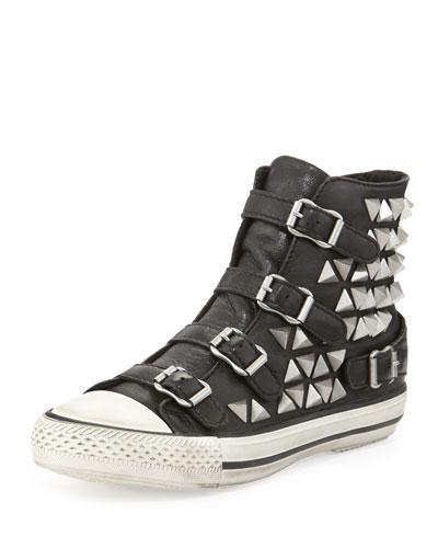 Ash Vice Studded Hi-Top Sneaker, Black