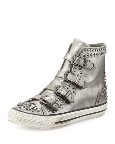 Ash Viking Studded Hi-Top Sneakers, Lead