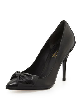 Anne Klein Ardana Almond-Toe Bow Pump, Black