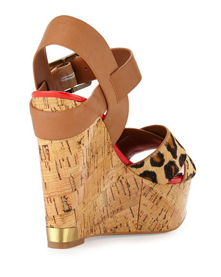 Wedge Hair Calf Sasha Leopard Sandal rxhQtsdC