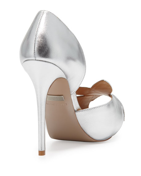 Talia Metallic Leaf Pump, Silver