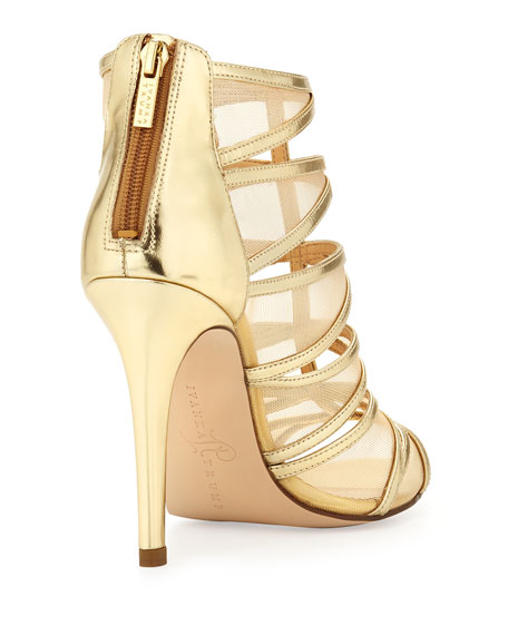 Derry Strappy Zip-Back Mesh Inset Sandal, Gold