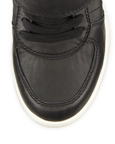 Ash Cool Ter Leather Wedge Sneaker, Black