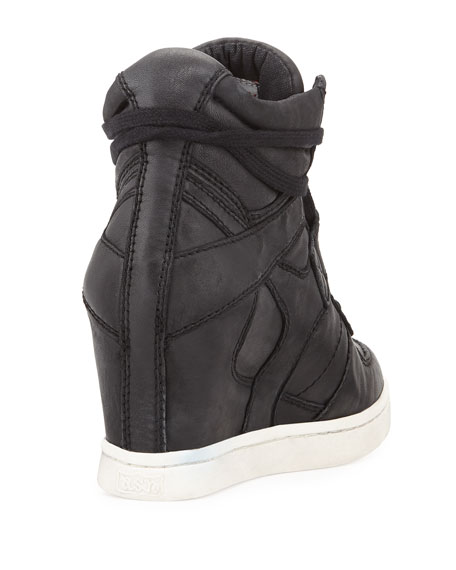 Cool Ter Leather Wedge Sneaker, Black