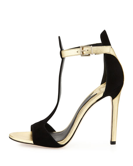 d871b576040 B by Brian Atwood Leigha Metallic   Suede T-Strap Sandal