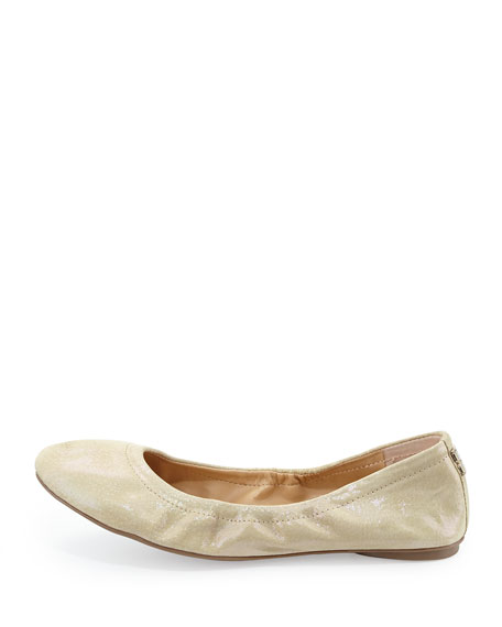 Molly Slip-On Metallic Suede Flat, Beige Metal