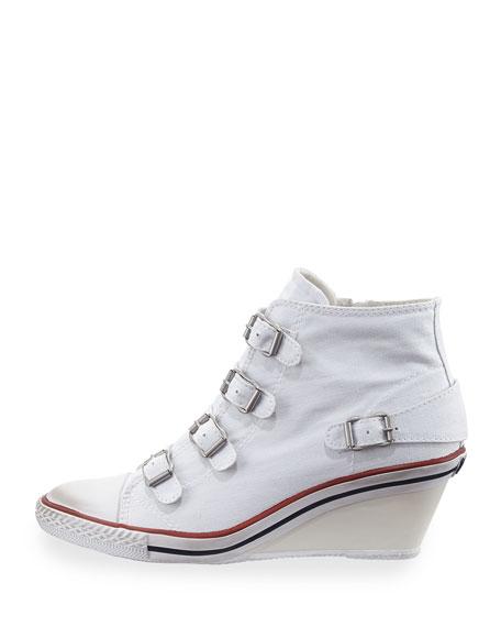 Genialbis Buckled Wedge Sneaker, White