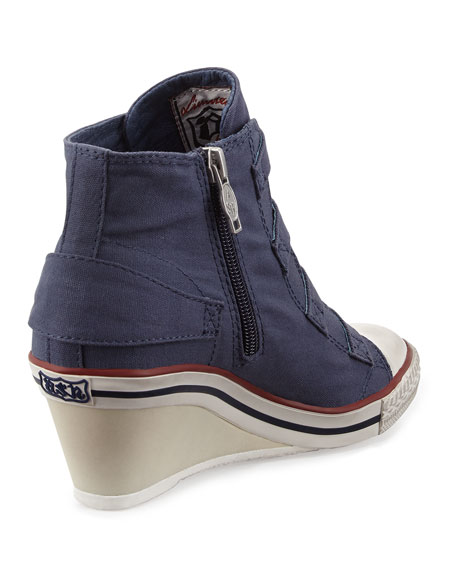 Genialbis Buckled Wedge Sneaker, Navy