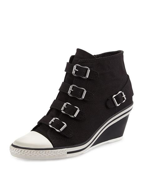 Genialbis Buckled Wedge Sneaker, Black