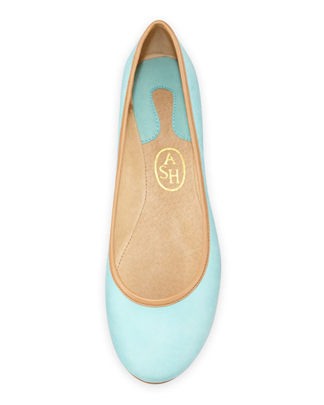 Instinct Leather Ballet Flat, Turquoise