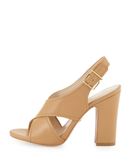 Edeva Crisscross High-Heel Sandal, Cigar