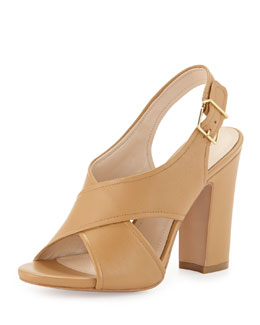 Pour la Victoire Edeva Crisscross High-Heel Sandal, Cigar