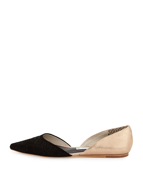 Two-Tone Snake-Embossed Leather d'Orsay Flat, Black/Rose Gold
