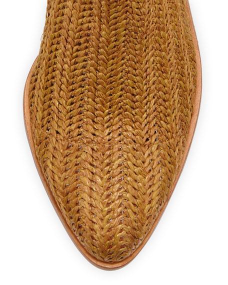 Marlow Woven Raffia Bootie, Chestnut