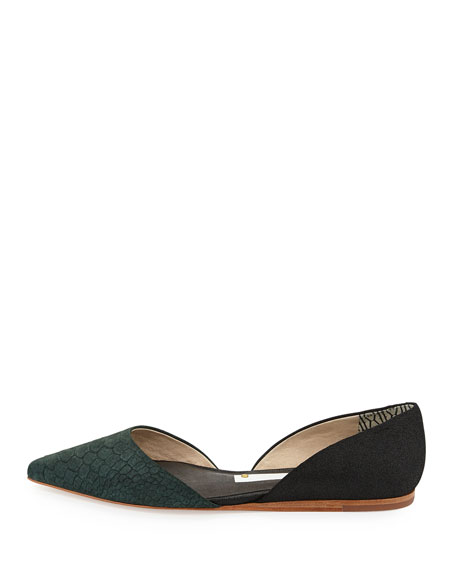 Snake-Embossed Pointy-Toe D'Orsay Flat, Black/Forest Green