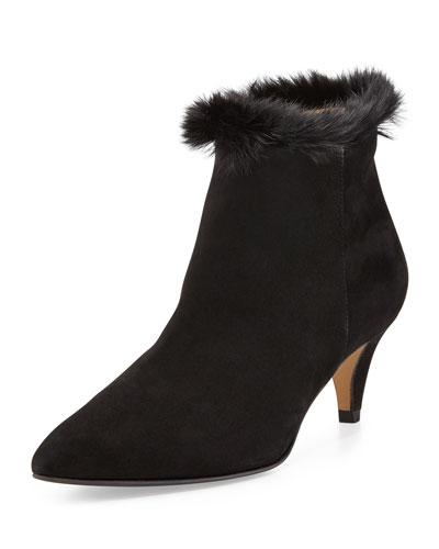 Aquatalia Shelby Faux-Fur Ankle Boot, Black