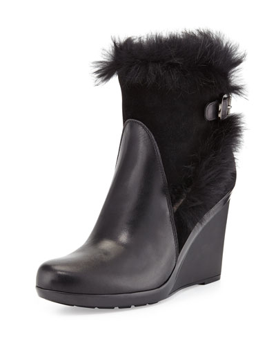 Aquatalia Nerve Rabbit-Fur Wedge Bootie, Black