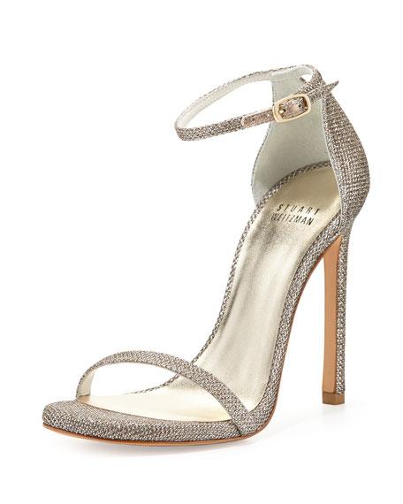 Stuart Weitzman Nudist Ankle-Strap Sandal, Platinum