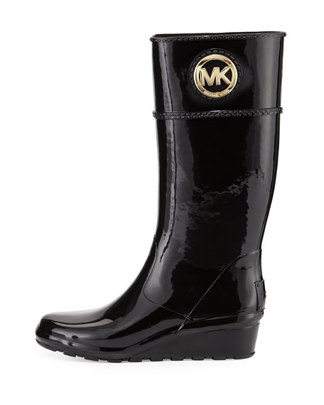 MICHAEL Michael Kors Stockard Rubber Wedge Rain Boot Black