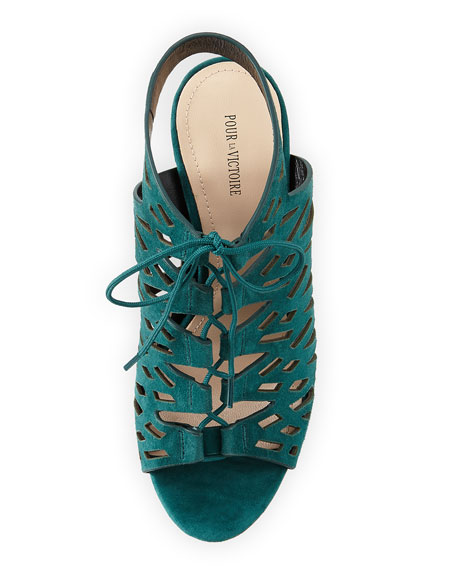 Laser-Cut Suede Leather Sandal, Jade