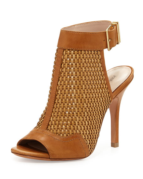 York Woven Leather Bootie, Cigar
