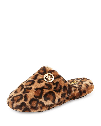 Jet Set Faux-Fur Slipper, Leopard