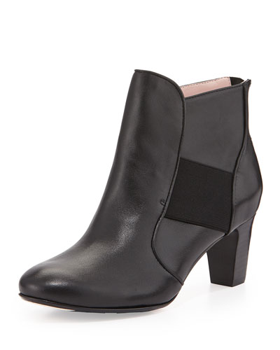 Taryn Rose Dwayne Leather Ankle Bootie, Black