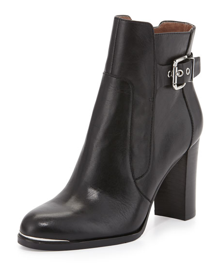 Quin Buckled Block-Heel Ankle Boot