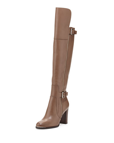 Donald J Pliner Quinto Leather Knee Boot, Taupe