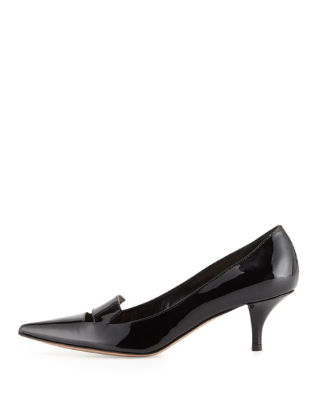 Baily Patent Low-Heel Pump, Black