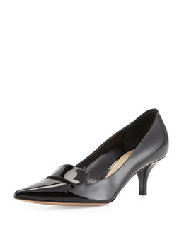 Delman Bailey Patent Low-Heel Pump, Black