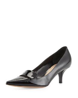 Delman Bailey Patent Low-Heel Pump, Black